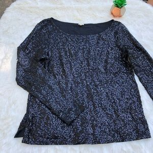 J. Crew Sequins Long Sleeve Top